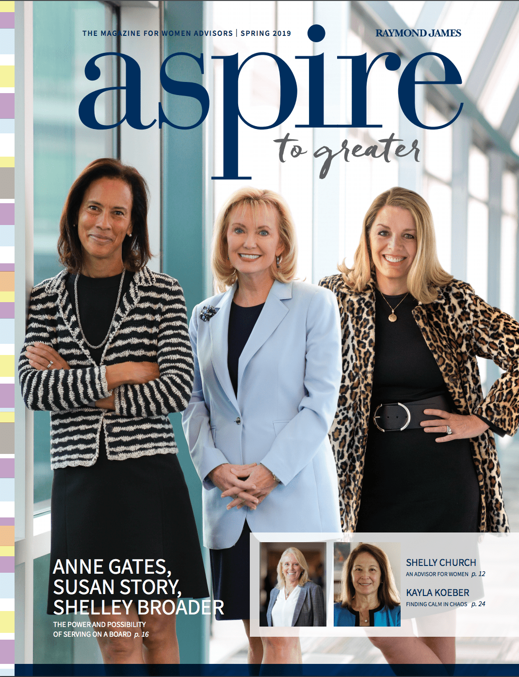 Cover of Aspire magazine featuring three businesswomen standing in a well-lit, window-lined hallway