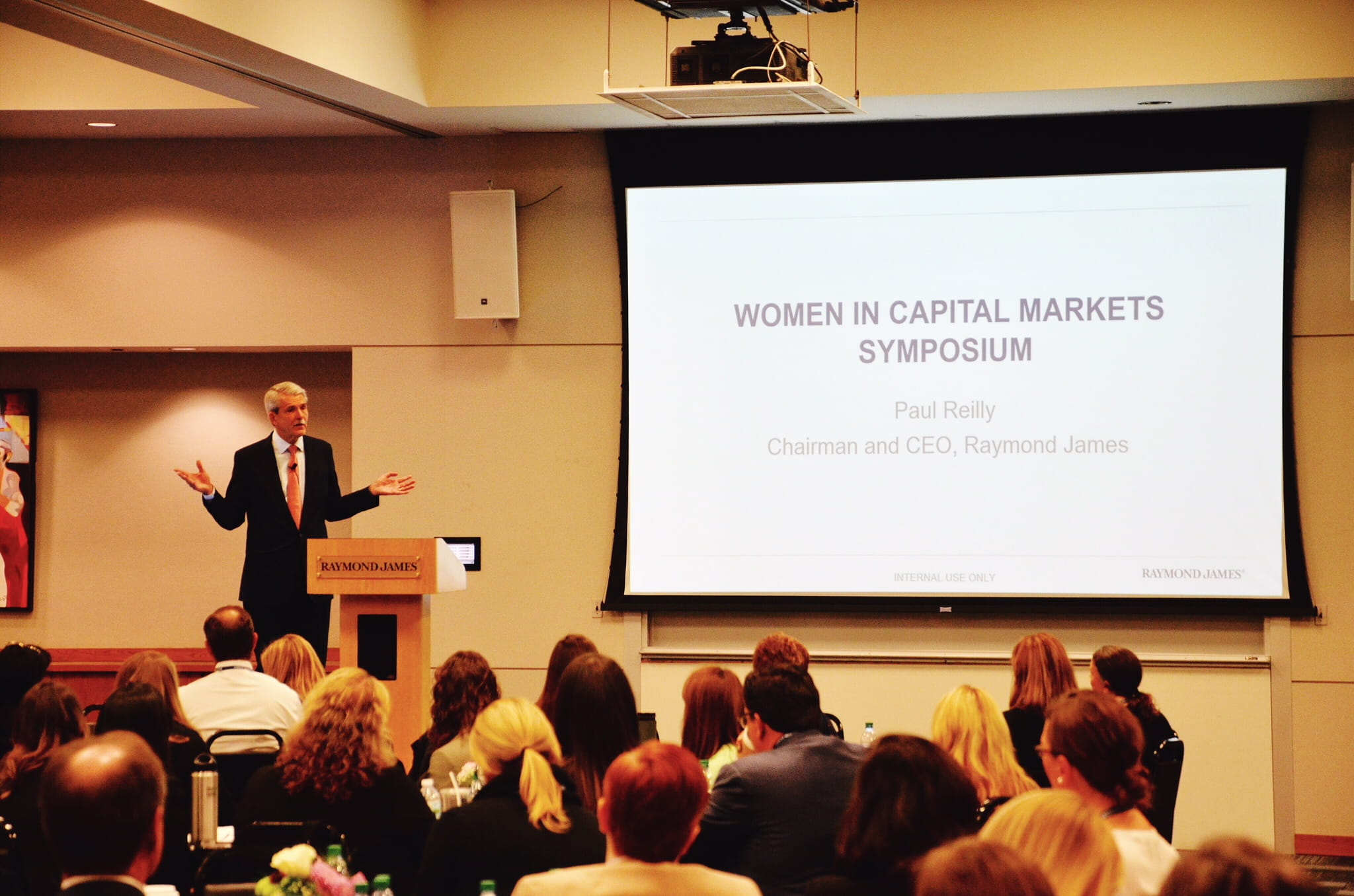 CEO and Chairman Paul Reilly makes opening comments at the Women in Capital Markets Symposium.