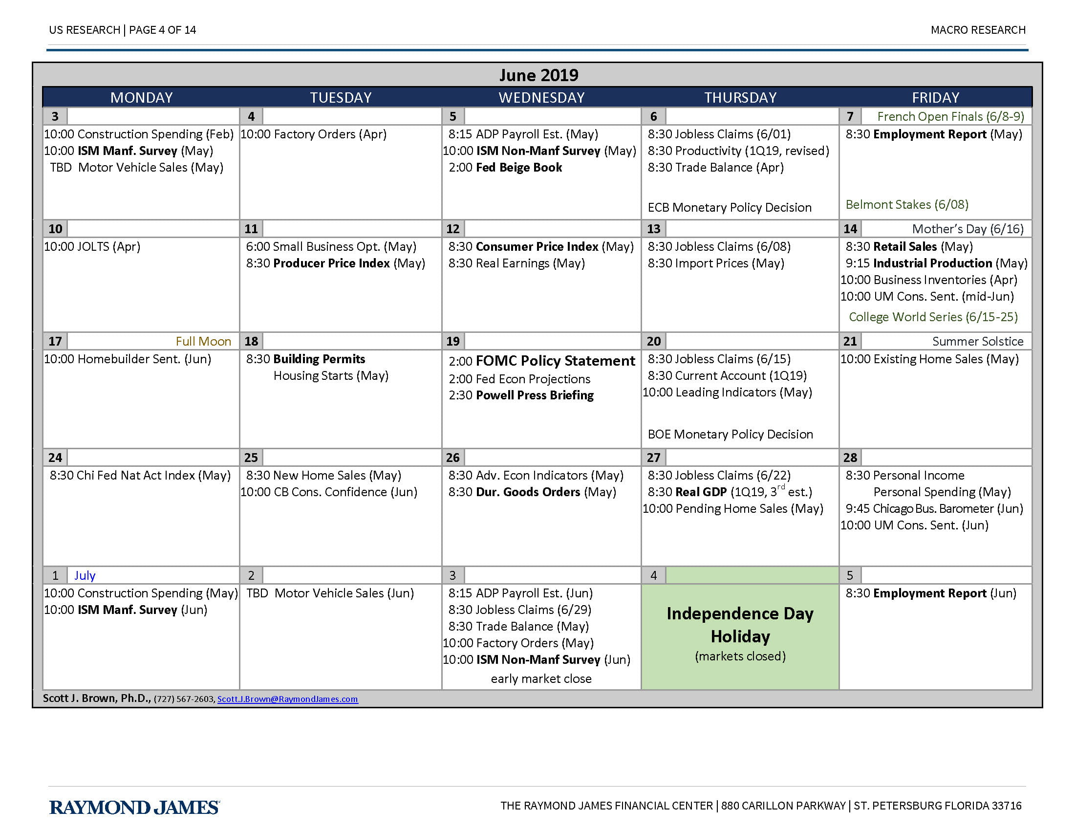 monthly economic calendar