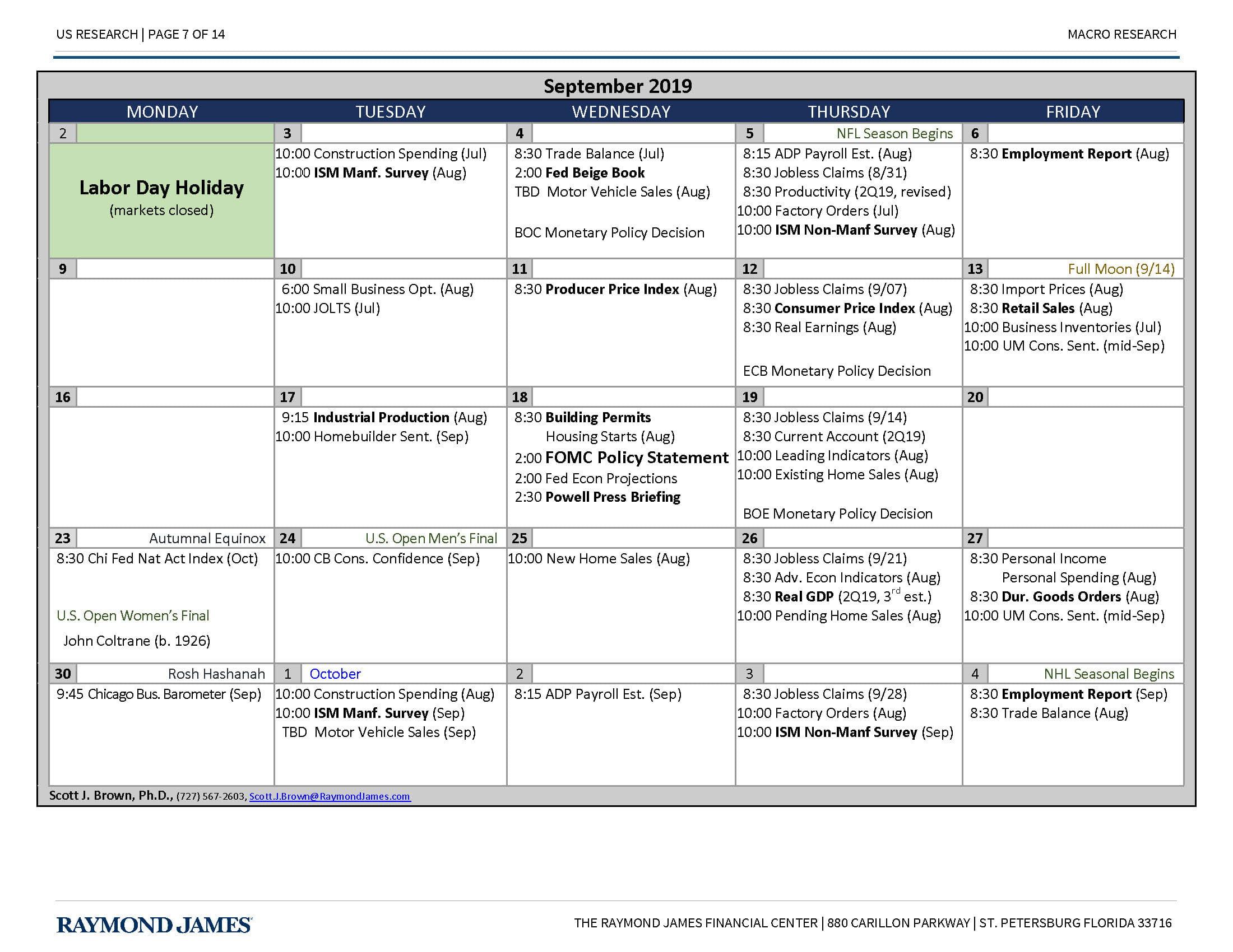 Monthly Economic Calendar - Economic Commentary | Raymond ...